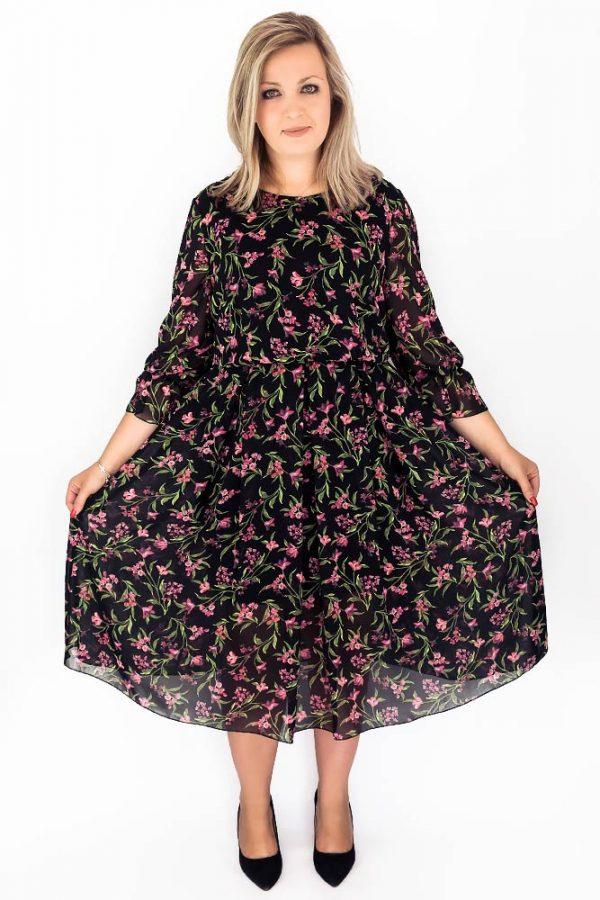 sukienka plus size szyfonowa w kwiaty maxi midi