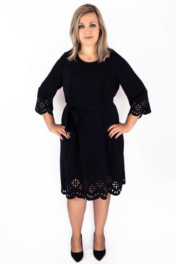 sukienka laserowo wycinana czarna