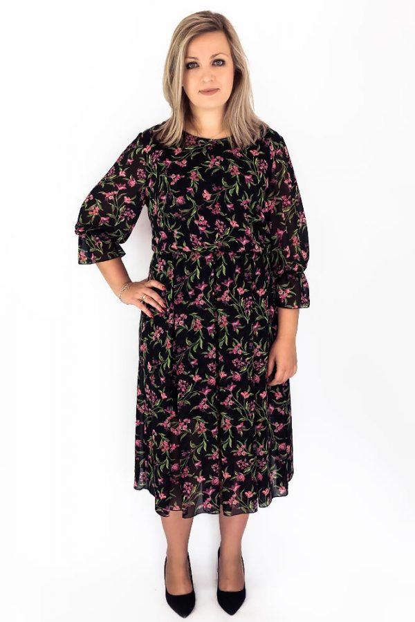 sukienka plus size szyfonowa maxi midi